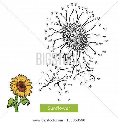 Numbers game, education dot to dot game for children, flower Sunflower