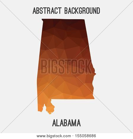 Alabama map in geometric polygonal,mosaic style.Abstract tessellation,modern design background,low poly. Vector illustration.
