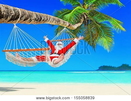 Santa Claus relax at sun in white cozy mesh hammock thumbs up positive gesturing under coconut palm tree shadow at tropical paradise sandy ocean beach - New Year and Christmas travel holidays concept