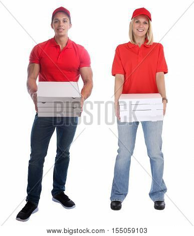 Pizza Delivery Man Woman Order Delivering Job Young Full Body Isolated