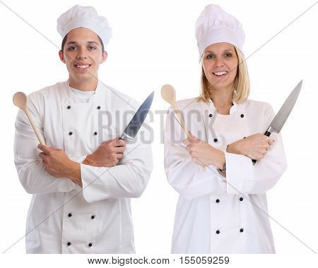 Cook Apprentice Trainee Trainees Cooks Cooking With Knife Job Young Isolated