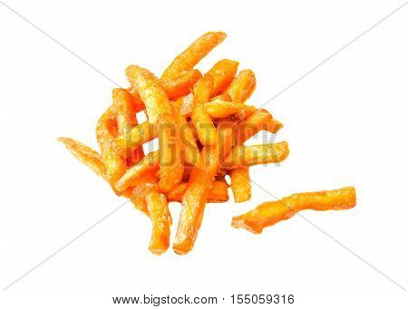 American fast food fried potatoes isolated on a white background. Tasty french fries. designer element