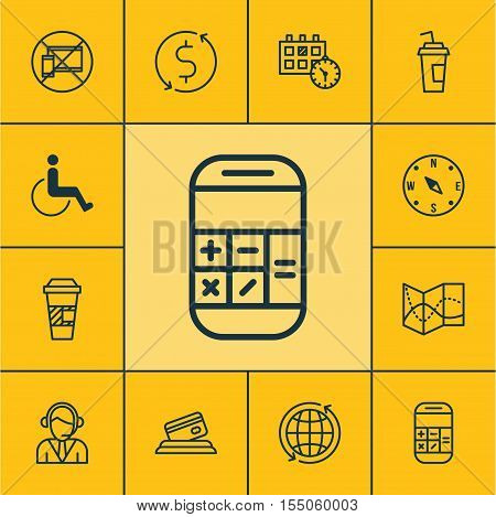 Set Of Transportation Icons On Accessibility, Calculation And Takeaway Coffee Topics. Editable Vecto