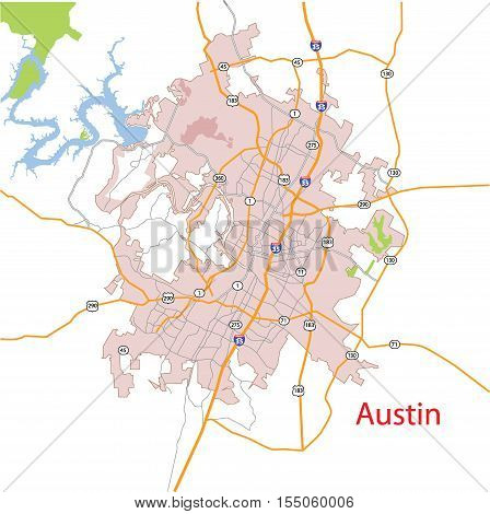 Austin Texas USA Detailed Vector Map Including Roads