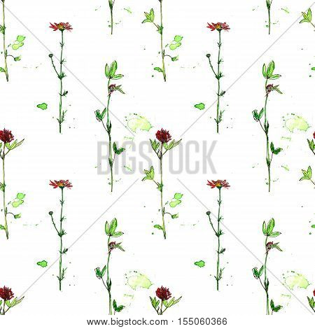 seamless pattern with watercolor and ink drawing wild flowers and herbs, painted field plants, color floral background, hand drawn natural ornament