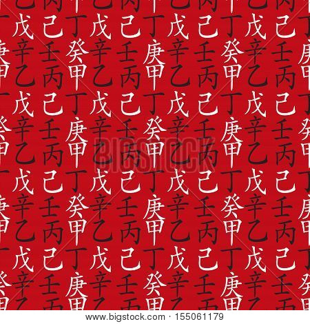 Set of chinese feng shui hieroglyphs seamless pattern. Translation of 10 zodiac stems, feng shui signs hieroglyph-wood, flower, sun, fire, mountain, soil, metal, gold, sea, air.