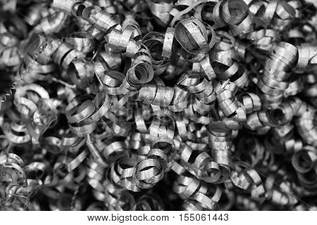 Metal shavings background. Black and white image