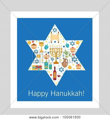 Set icons of Hanukkah Happy Hanukkah. Hanukkah greeting card. Cartoon icons flat style. Traditional symbols of Jewish culture. Vector illustration.
