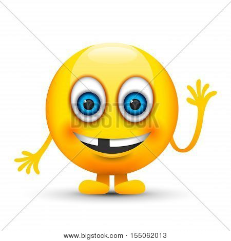 a yellow toothless emoji with its hand up