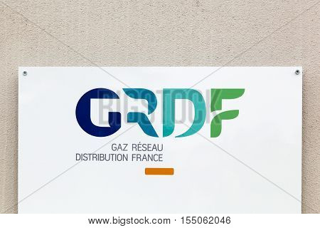 Villefranche, France - October 23, 2016: GRDF is a French company of gas distribution etablished in 2007. This is the main distributor of natural gas in France and Europe