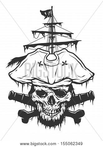Captain skull on a background of pirate attributes. Vector illustration.