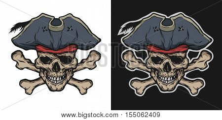 Pirate Skull and Crossbones two options. Vector illustration.
