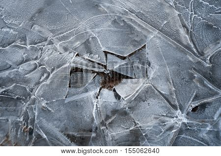 Spring Background - Meltinh And Cracking Ice