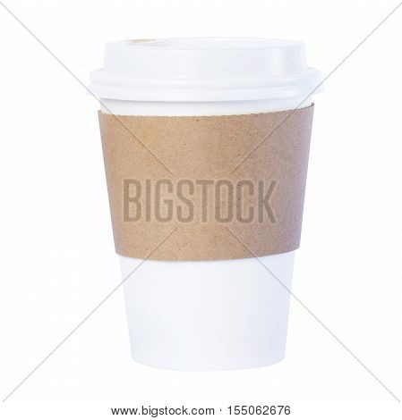 Paper cup with Sleeve ioslated white background