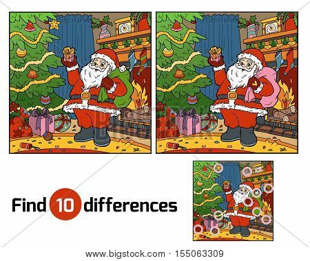 Find differences, education game for children, Santa Claus