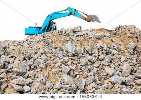 pieces of concrete and brick rubble debris on construction site with loader on white background