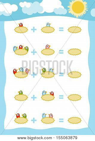 Counting Game For Children. Addition Worksheets, Birds In The Nest