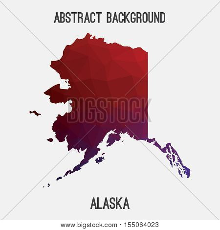 Alaska map in geometric polygonal,mosaic style.Abstract tessellation,modern design background,low poly. Vector illustration.