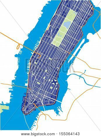 New York City - Lower and Mid Manhattan - Vector Map Dark Blue