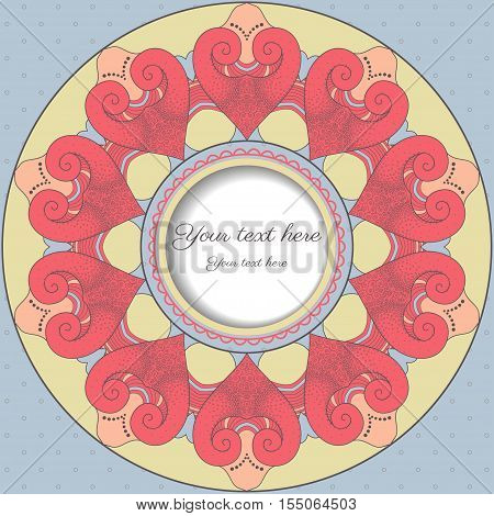 Card with round frame. Filigree lace pattern reminiscent hearts.