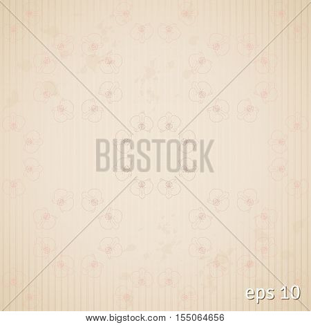 Seamless vintage abstract background. Stripes and orchids.