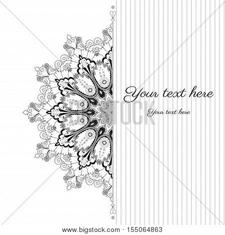 Vector abstract card. Vintage ornate damask pattern and stripes. Colors are easily editable. Place for your text.
