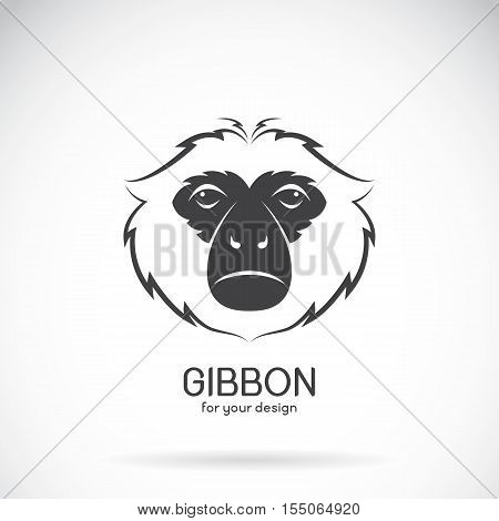 Vector image of a gibbon head design on white background Vector gibbon logo. Wild Animals.