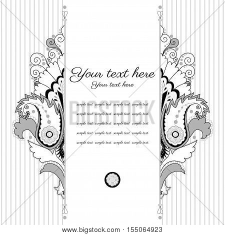 Vector card. Vintage damask pattern. Black white and gray. Place for your text.