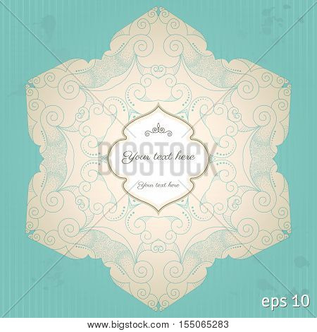 Vector vintage background. Filigree pattern striped paper and blots. Place for your text. Easy to change colors