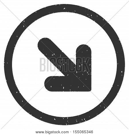 Arrow Down Right rubber seal stamp watermark. Icon vector symbol with grunge design and unclean texture. Scratched gray ink emblem on a white background.