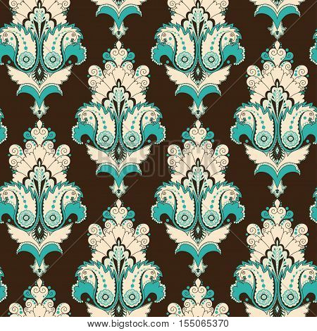 Seamless vector background. Vintage damask pattern. Easily edit the colors.
