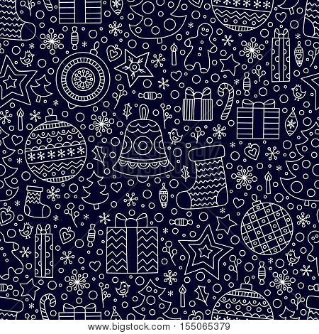Christmas time. Vector seamless pattern with hand drawn doodle winter elements. Balls socks presents christmas tree stars candy gingerbread man bird candle heart berries snowflake. Outline.