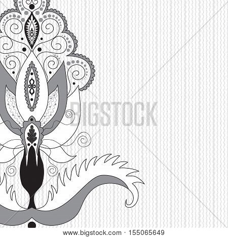 Abstract background with waves and damask floral elements. Illustration in black white and gray.