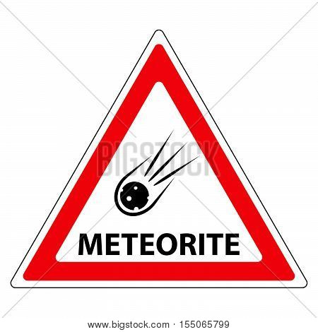 meteorite road sign attention a meteorite in a red triangle vector