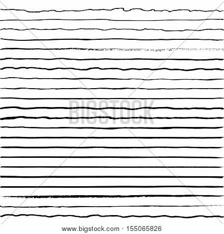 set of horizontal lines drawn with a trembling hand curves tremolo brush vector