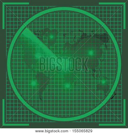 radar screen with world map of the earth the real sonar green color with a discovered UFO objects on the screen alien invasion vector