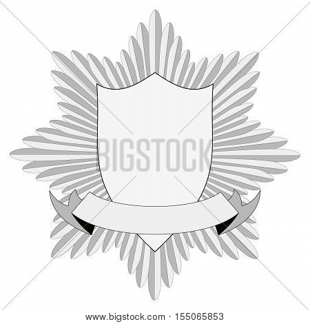 Template heraldry badge cockade consists of swords in a circle shield and banner vector