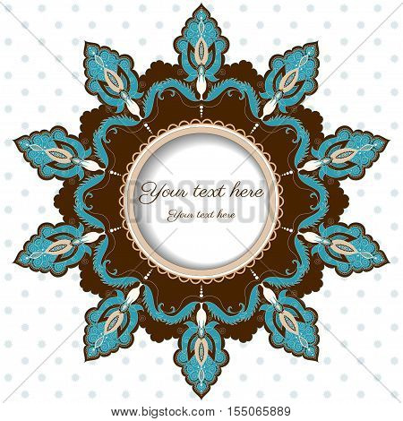 Round lace frame with damask floral elements. Easily edit the colors.