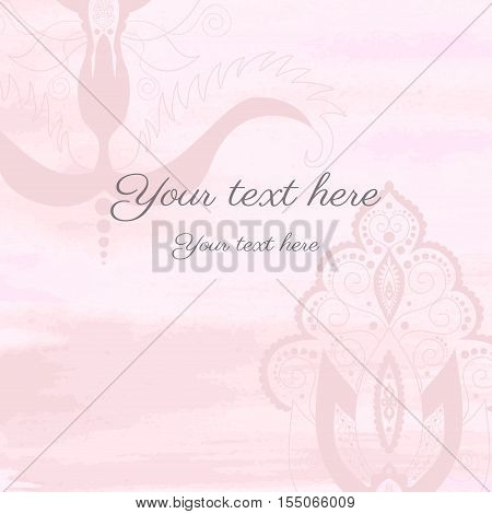 Vector card with damask pattern. Watercolor background.