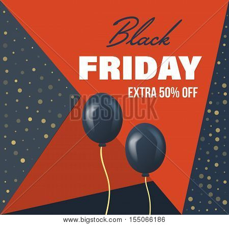 Black Friday Sale Banner Template. Special system of discounts for the purchase of goods. Vector illustration. You can use in brochures, banners, graphics and commercial materials.