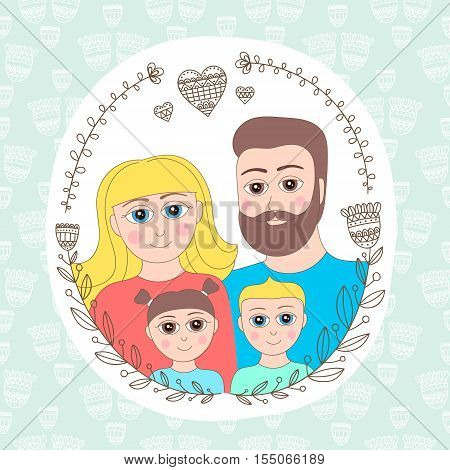 Family portrait. Mother father sister brother. Doodle floral frame portrait with happy smilling native people.
