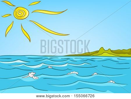 Hand drawn cartoon of sea landscape. Colourful cartoon of sea or ocean background. Cartoon background of sea or ocean with blue waves ans sun. Cartoon of seacoast landscape. Background of seascape.