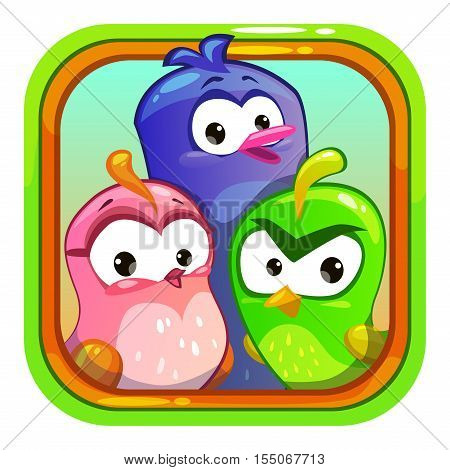 Cute application store logo element. Vector game app icon with funny cartoon bird characters.