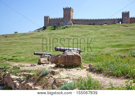 An old cannon at the Genoese fortress in Sudak. Crimea