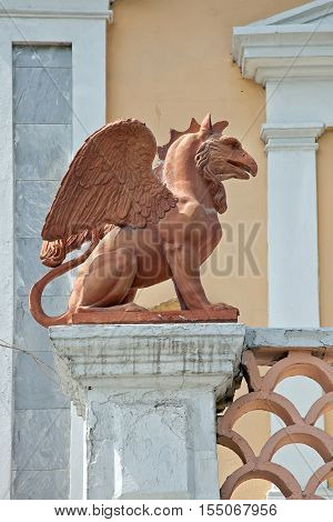 FEODOSIYA UKRAINE - May 07.2009: The sculpture of a mythological animal Griffin close to the art gallery Aivazovsky