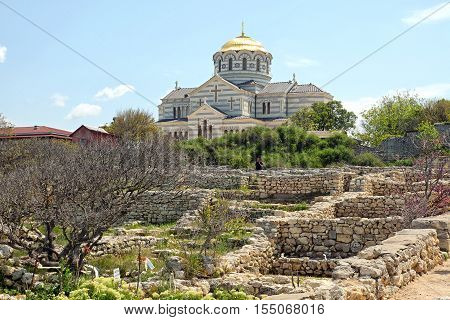 View of the Orthodox Vladimirsky Cathedral from the ruined walls of Chersonesus