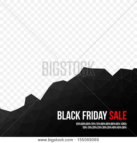 Black Friday sale low polygonal background. Shopping discounts promotion. Black Friday banner. Vector illustration