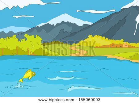 Hand drawn cartoon of summer landscape. Colourful cartoon background of mountain lake in summer. Cartoon of lake in mountains. Background of mountain landscape with lake. Cartoon of mountains panorama