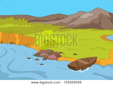 Hand drawn cartoon of summer landscape. Colourful cartoon background of mountain river in summer. Cartoon of lake in mountains. Background of mountain landscape with lake. Cartoon of mountain panorama