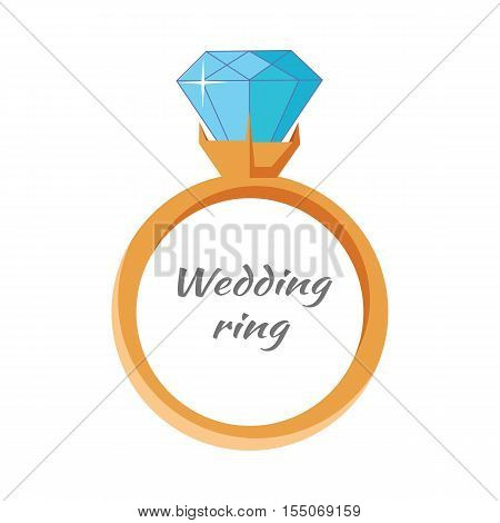 Wedding ring icon isolated on white. Jewelry ring with blue gem. Best wedding and engagement ring editable for your design. Luxury diamond ring. Jewels concept. Vector illustration